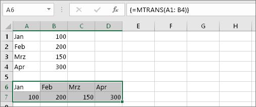 Ergebnis der Formel, mit der die Zellen A1:B4 in die Zellen A6:D7 transponiert wurden