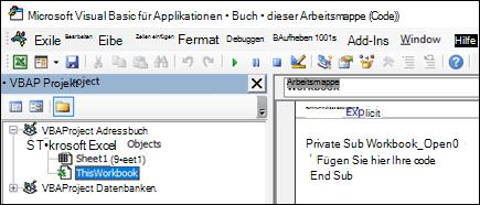 DieseArbeitsmappe Modul im Visual Basic-Editor (VBE)