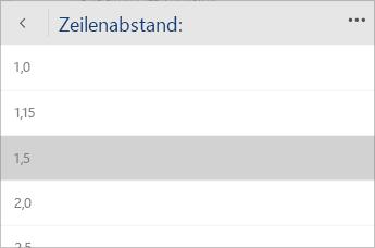 Screenshot des Word Mobile-Menüs zum Auswählen des Werts für Zeilenabstand