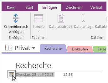 Screenshot: Ändern des Datumsstempels auf einer Seite in OneNote 2016