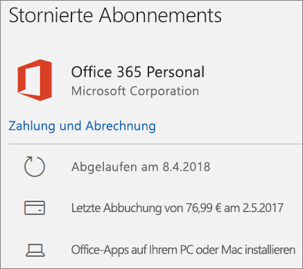 Office 365-Abonnement, das abgelaufen ist