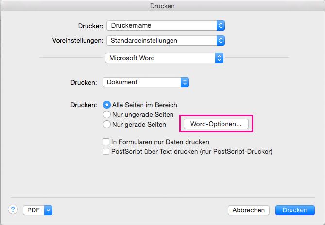 """Klicken Sie auf """"Word-Optionen"""", um zusätzliche Druckoptionen auszuwählen."""