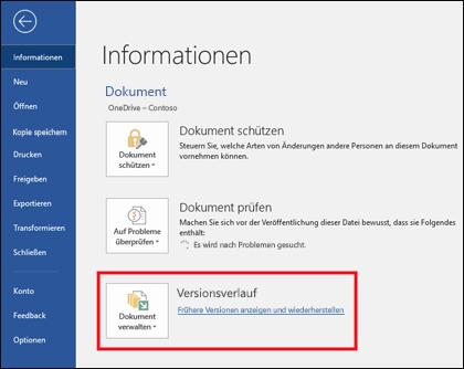 """Mit der Schaltfläche """"Versionen verwalten"""" können Sie frühere Versionen des Dokuments wiederherstellen."""