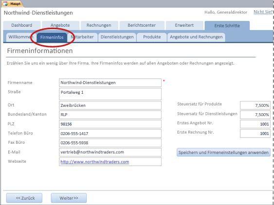 Registerkarte 'Firmeninfos' der Datenbankvorlage 'Dienstleistungen'