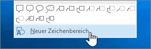 """Option """"Neuer Zeichenbereich"""" unten im Menü """"Formen"""""""
