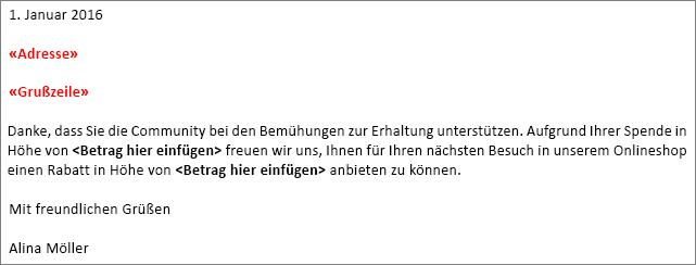 """Beispiel-Serienbrief in Word mit """"Adressblockfeld"""" und """"Grußzeile"""" Feld."""