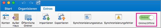 """Offline/Online-Schieberegler auf der Registerkarte """"Extras"""""""
