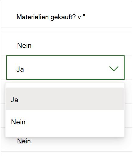 Screenshot aus Project zum Ändern des Inhalts einer Ja/Nein-Spalte