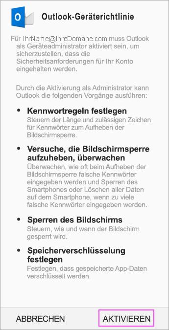 """Tippen Sie auf """"Aktivieren"""", um die Administratorgeräterichtlinie anzunehmen."""