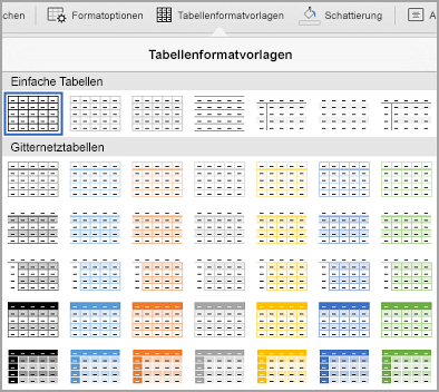 iPad: Tabellenvorlagenkatalog