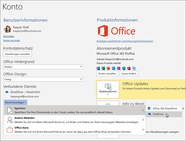 """Der Bereich """"Konto"""" in den Office-Apps mit hervorgehobener OneDrive-Speicherauswahl für die Option """"Dienst hinzufügen"""" unter """"Verbundene Dienste"""""""