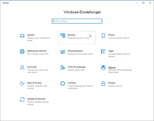 Windows-Geräteeinstellungen PIC