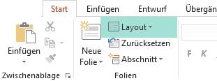 Die Schaltfläche Layout auf der Registerkarte Start in PowerPoint enthält alle verfügbaren Folienlayouts.