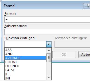 """Auf der Registerkarte """"Layout"""" unter """"Tabellentools"""" werden die Einfügeoptionen einer Formel angezeigt."""