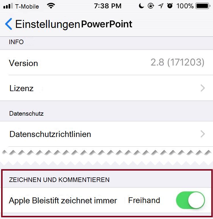 In den Einstellungen einer Anwendung können Sie die automatische Freihandeingabe aus-oder einschalten.