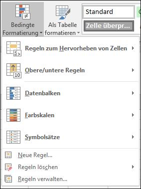 Optionen für bedingte Formatierung