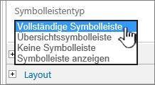 Auswählen eines Symbolleistentyps