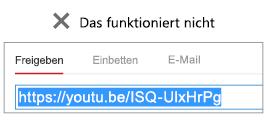 """Wenn Ihr Einbettungscode mit """"http"""" beginnt, wird Ihr Video nicht erfolgreich eingebettet."""