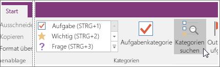 """Screenshot der Schaltfläche """"Kategorien suchen"""" in OneNote 2016"""