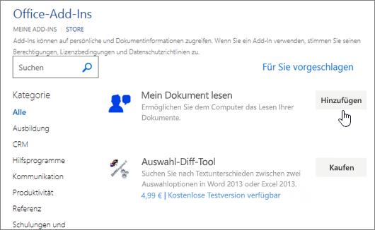 Screenshot der Seite Apps für Office in der Store auswählen können, oder suchen Sie nach einer app für Word.