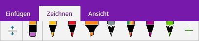 Stiftkatalog in OneNote mit benutzerdefinierten Stiften