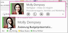 Outlook Skype for Business-Schnellstartmenü