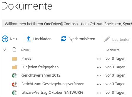 finden Sie unter OneDrive for Business-Dokumenten