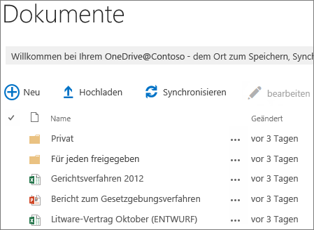 Siehe OneDrive for Business-Dokumente