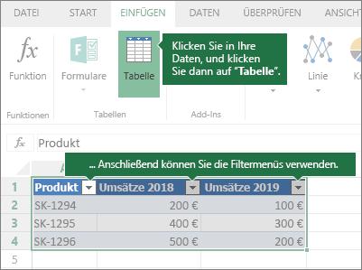 """Registerkarte """"Einfügen"""", Schaltfläche """"Tabelle"""", Filtermenüs"""