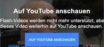 Diese YouTube-Fehlermeldung erläutert, dass keine eingebetteten Flash-Videos mehr unterstützt werden