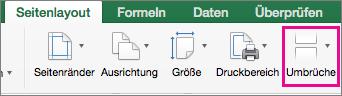 """Wählen Sie auf der Registerkarte """"Seitenlayout"""" die Option """"Umbrüche"""" aus."""