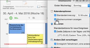 Kalender auf der linken Seite und Dialogfeld auf der rechten Seite