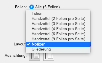 Zeigt die Option zum Drucken von Notizen in PowerPoint 2016 für Mac