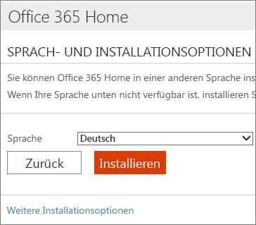 """Auf der Seite """"Sprach- und Installationsoptionen"""" den Link """"Weitere Installationsoptionen"""" auswählen"""
