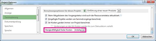 Registerkarte 'Terminplanung' im Dialogfeld 'Project-Optionen'