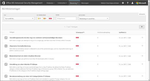 """Navigieren Sie im ASM-Portal zu """"Kontrolle"""" > """"Vorlagen""""."""