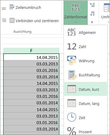 """Ändern von Daten über das Menüband in das Format """"Kurzes Datum"""""""