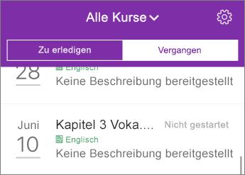 """Filtern von Kursen nach """"Alle"""", """"Ausstehend"""" und """"Überfällig"""""""