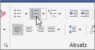 """Schaltflächen """"Aufzählungszeichen"""" und """"Nummerierung"""" auf der Registerkarte """"Start"""""""