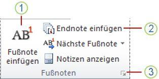 Word 2010: Gruppe 'Fußnoten' auf der Registerkarte 'Verweise'