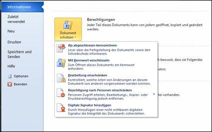 Schaltfläche 'Dokument schützen' mit Optionen