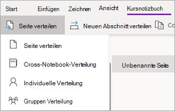 """Schaltfläche """"Seite verteilen"""" und klicken Sie dann auf Kreuztabellen Verteilung."""