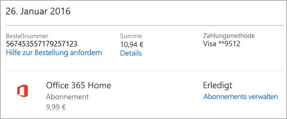 """Beispiel für die Seite """"Bestellverlauf"""" mit den Bestelldetails eines Office 365 Home-Abonnements"""
