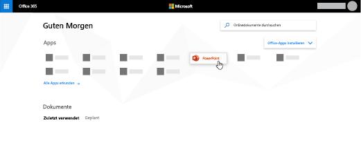 Die Office365-Startseite, auf der die PowerPoint-App hervorgehoben ist