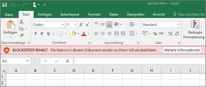 Wenn Sie versuchen, eine Datei aus einer verdächtigen Quelle zu öffnen, blockiert Office sämtliche Makros.