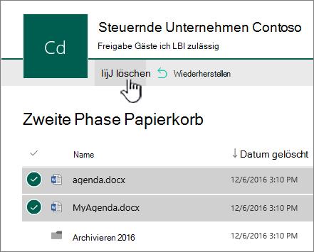 Endgültiger Papierkorb in SharePoint Online mit hervorgehobener Schaltfläche zum Löschen