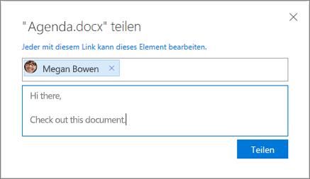 """Screenshot: Dialogfeld """"Freigeben"""" bei Freigabe einer Datei in OneDrive for Business"""