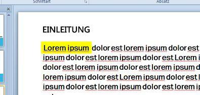 Mit einem mit Farbe ausgefüllten Textfeld simulierte Texthervorhebung