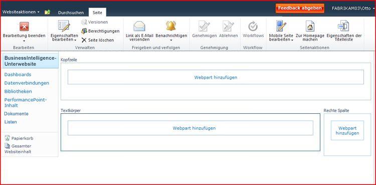 Eine Webpartseite enthält Zonen für das Hinzufügen von Webparts