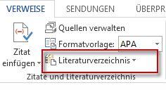 Erstellen eines Literaturverzeichnisses in Word 2013.